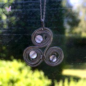 Rose Quartz Celtic Triskelion Silver Pendant